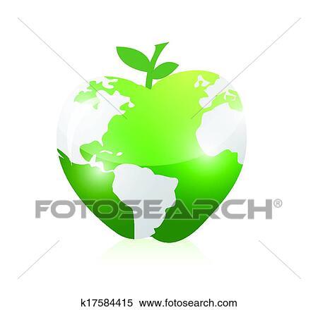 緑 世界地図 アップル イラスト デザイン クリップアート切り張り