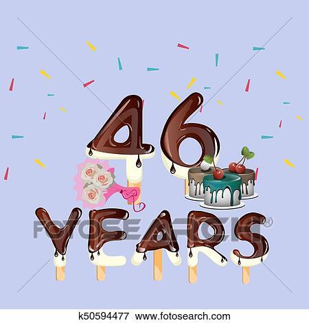 Clip Art 46th Anni Buon Compleanno Scheda K50594477 Cerca