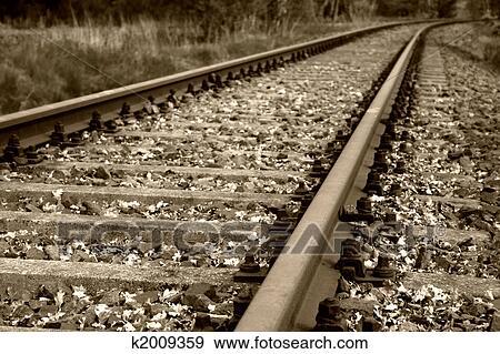 Stock Fotograf Alt Schiene Bett Und Eisenbahn Verfolgt