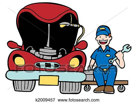 stock illustration of auto mechanic car hood k2009457 search eps rh fotosearch com auto mechanic clipart images car mechanic clipart