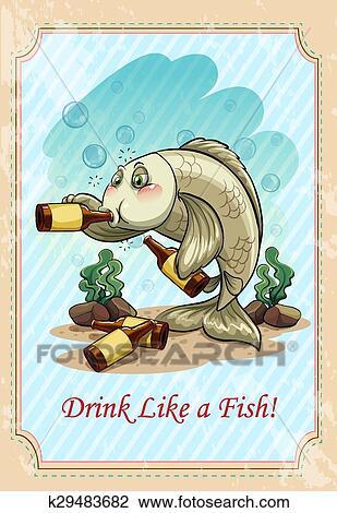 Clipart Besoffener Fische Trinken Alkohol K29483682 Suche