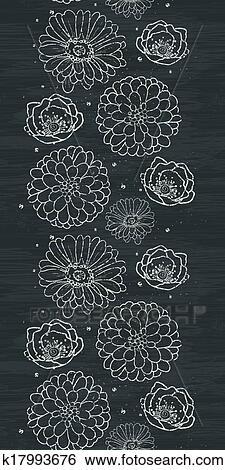 craie fleurs tableau noir vertical fronti re seamless. Black Bedroom Furniture Sets. Home Design Ideas