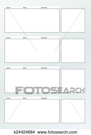 Clipart of Film storyboard template vertical x4 k24424684 - Search ...
