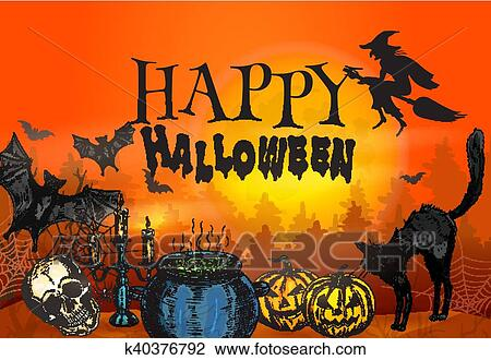clipart of happy halloween witchcraft and horror scene k40376792