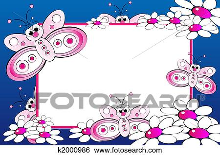 Stock Illustration of Kid scrapbook with blank frame message ...
