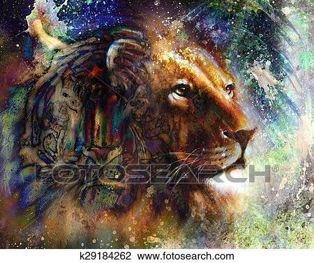Lion Figure Profil Portrait Sur Coloré Résumé Plume Modèle Fond Et Indien Femme Porter Plume Headdress Résumé Couleur Collage