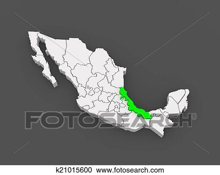 Map Of Veracruz Mexico Stock Illustrations K21015600