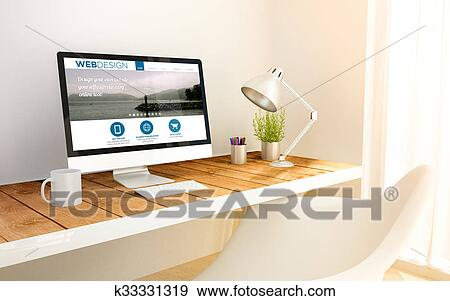 Minimalist Workplace And Computer With Web Design Stock Illustration K33331319 Fotosearch
