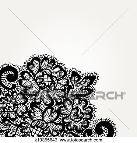 Dentelle Dessin clipart - noir, vecteur, dentelle, coin k19365643 - recherchez des