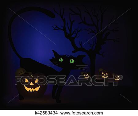 Zucca Halloween Gatto.Scena Halloween Con Gatto Nero Zucche E Albero Vettore Clipart
