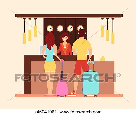 Clipart Hotel The Tourists Reception At