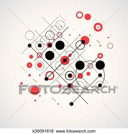 Vettore Bauhaus Estratto Sfondo Rosso Fatto Con Griglia E