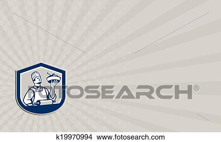 Drawings of business card chef cook holding roller plate retro drawing business card chef cook holding roller plate retro fotosearch search clip art colourmoves