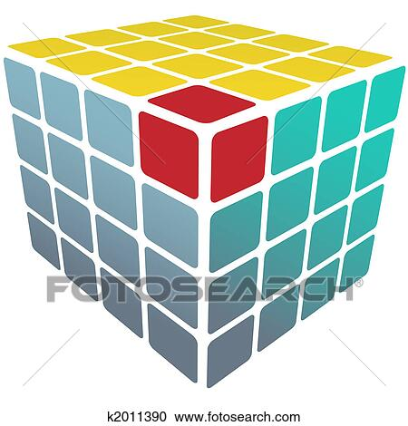 A Three Sided Cube Puzzle Box In 3D With Gold Solution On White Reflection