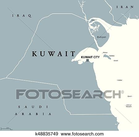 Kuwait Political Map.Clip Art Of Kuwait Political Map K48835749 Search Clipart