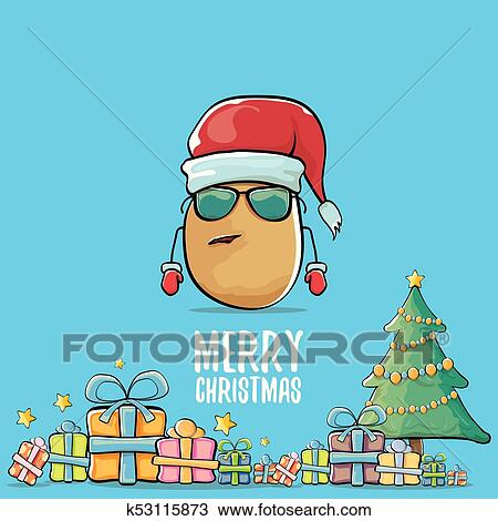 vector funky comic cartoon cute brown smiling santa claus potato with red santa hat gifts tree and calligraphic merry christmas text isolated on blue background funky christmas character clipart k53115873 fotosearch fotosearch