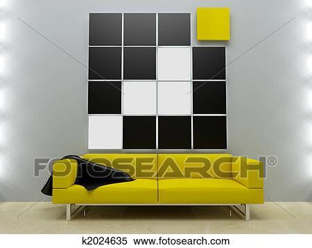 Hippe Design Bank.Binnenland Motieven Gele Bank In Hippe Stijl Stock Illustraties