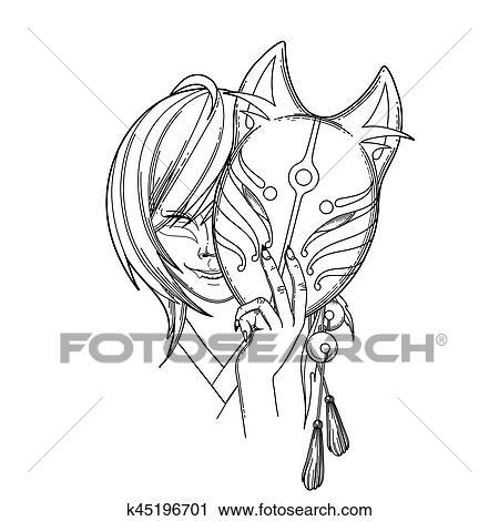Clipart Japanische Dämon Fuchs K45196701 Suche Clip Art