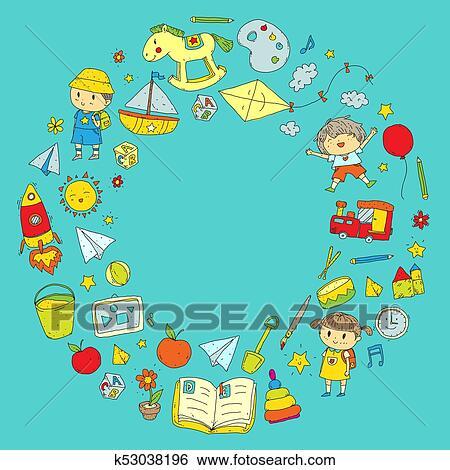 Clip Art Kindergarten Nursery Preschool School Education With Children Doodle Pattern Kids Play And Study