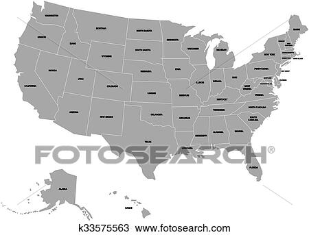 Vector map of United States of America with state names Clipart