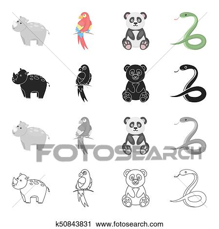 Animal hippopotamus, bamboo bear koala, parrot, poisonous snake  Animals  set collection icons in cartoon black monochrome outline style bitmap  symbol