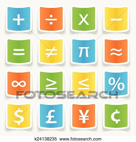Clipart Of Math Symbol Stickers K24138235 Search Clip Art