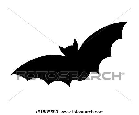 Morcego Halloween Silueta Vetorial Desenho Isolado Branco