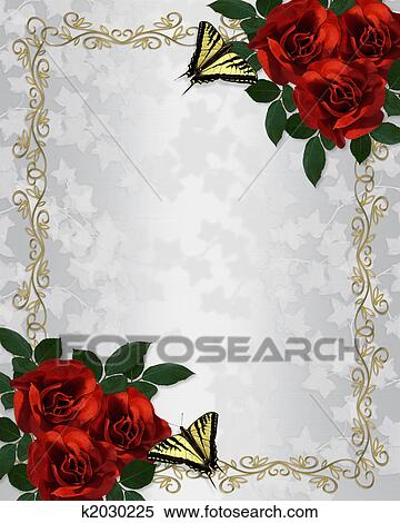 Stock Illustration Rote Rosen Schmetterlinge Umrandungen