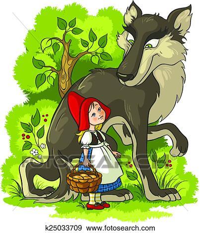 rotkäppchen, und, wolf clip art   k25033709   fotosearch