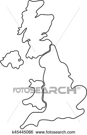 Blank Map Of England Scotland And Wales.United Kingdom Aka Uk Of Great Britain And Northern