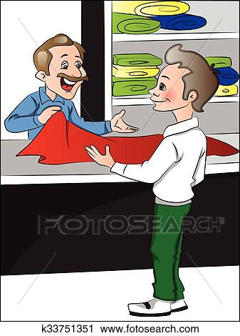 Vector Of Shopkeeper Helping Customer To Choose Clothes Clipart