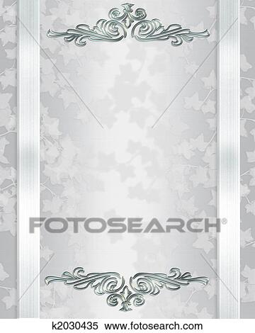 Stock illustration of wedding invitation template elegant k2030435 image and illustration composition ivy on elegant white satin for background border frame anniversary party wedding invitation or template with copy stopboris Images