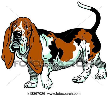 clip art of basset hound k18367026 search clipart illustration rh fotosearch com basset hound face clipart basset hound clipart free