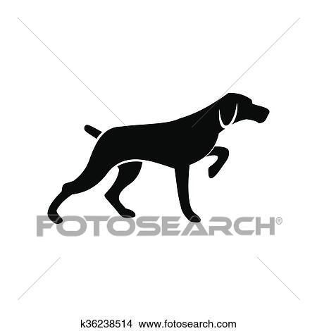 Dessins chien chasse noir simple ic ne k36238514 - Dessin chien simple ...