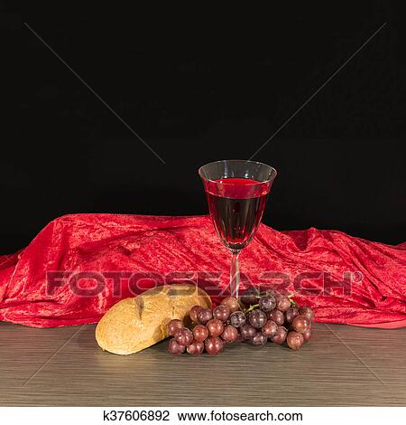 Stock Photo Of Communion Table Bread Wine And Grapes K37606892