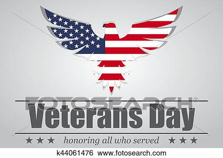 Clip Art Of Eagle With Usa Flag Inside For Veterans Day Vector