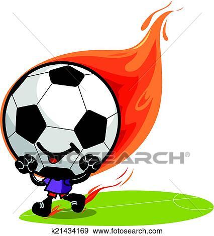 Fussball Ball Zeichen Auf Fire Vektor Abbildung Clip