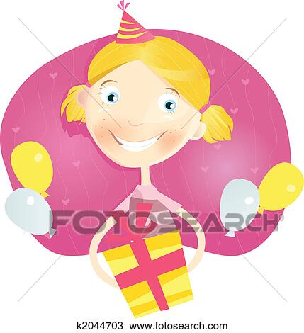 Happy Small Girl With Birthday Present Clipart K2044703