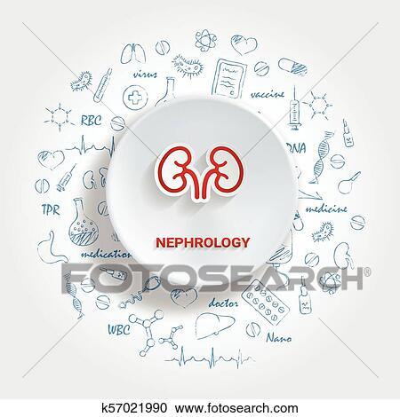 Iconos, para, médico, specialties , nefrología, concept , vector,  ilustración, con, mano, dibujado, medicina, doodle  Clipart