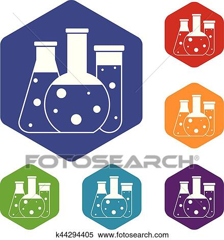 Clipart Of Laboratory Flasks Icons Set K44294405 Search Clip Art