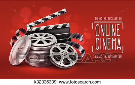Online cinema with film tape disks in boxes and directors clapper for  filmmaking Clip Art