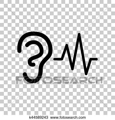 Clipart oreille audition son signe noir ic ne sur - Clipart oreille ...