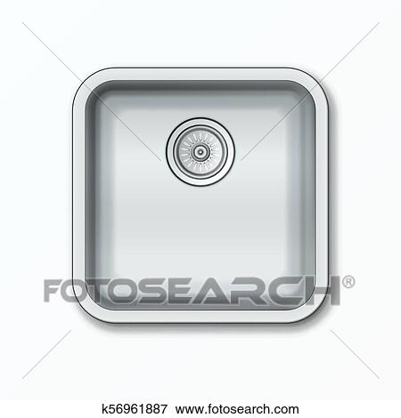 Clip Art of Realistic Clear Kitchen Sink k56961887 - Search Clipart ...