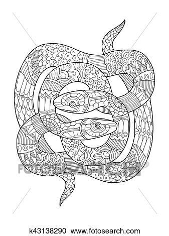 Schlange Ausmalbilder Für Erwachsene Vektor Clipart