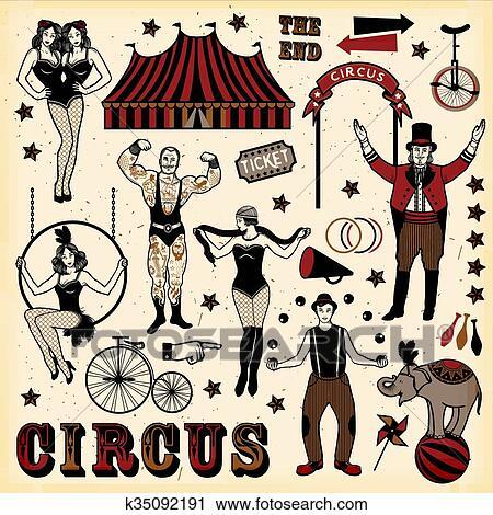 Vintage Circus Set Clipart | k35092191 | Fotosearch