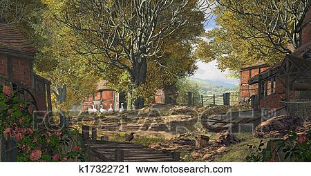 clipart of yorkshire country farm k17322721 search clip art