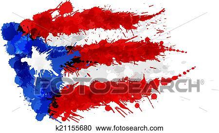 clipart bandera de puerto rico hecho de colorido