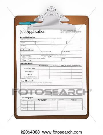 Pictures Of Clipboard With Job Application Form K2054388 Search