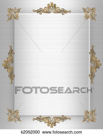 Stock Illustrationen Hochzeitskarten Gold Auf Satin K2052000