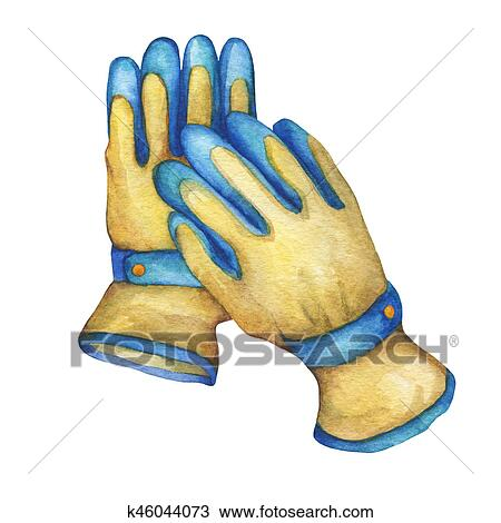 Non,slip coated gloves, gardening tool. Drawing